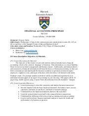 Syllabus pdf - Harvard Extension School FINANCIAL ACCOUNTING