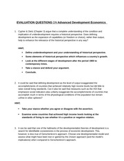 EVALUATION QUESTIONS ON Advanced Development Economics Exam Material