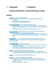 Household energy gizmo - Name Date Student Exploration ...