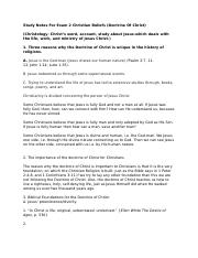 Study Notes For Exam 2 Christian Beliefs (Doctrine Of Christ).docx