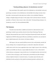 Personal Goal Paper-Social Psychology and Peace;And Introductory Overview.docx