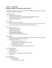 Lecture 7 study guide - Agenda setting and persuasion.docx