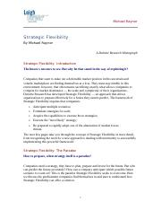 Reading on strategic flexibility