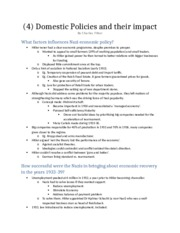 (4) Domestic Policies and their impact