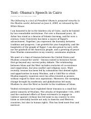 President Obama's Speech in Cairo addressed to the Muslim World June 4, 2009.doc