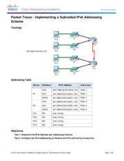 9.3.1.4 Packet Tracer - Implementing a Subnetted IPv6 Addressing Scheme Instructions