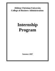 Internship - Intern Packet