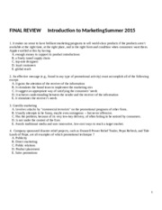 Exam #3 REVIEW SUMMER 2015 (1)
