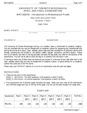Introduction to Mathematical Proofs_MAT102-Final-Winter2014-VerA
