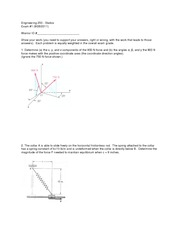 Exam 1 Version 1 Fall 2011 on Statics