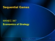 Game Theory - sequential games