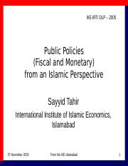 DL Oct-Nov 06 FISCAL & MONETARY POLICIES 061107(Dr. Tahir)