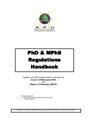 PhD-MPhil Regulations Handbook