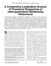 A Comparative Longitudinal Analysis of Theoretical Perspectives of Interorganizational Relationship