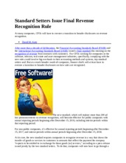 Standard Setters Issue Final Revenue Recognition Rule