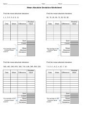 Mean Absolute Deviation worksheet - Name Date Block Mean Absolute ...