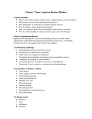 Chapter 7 Notes - Analyzing Business Markets