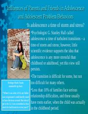 Lecture 18 - Influences of Parents and Friends in Adolescence and Adolescent Problem Behaviors