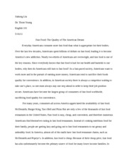 essay on american food culture jiahong liu dr thom young english essay on american food culture jiahong liu dr thom young english 101 fast food the quality of the american dream everyday americans consume more fast