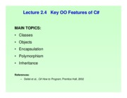 Lect 2.4 Key OO Features of Csharp