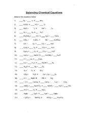 Balancing Equations WS - Balancing Chemical Equations Balance the ...