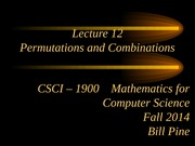 Lecture 12 - Permutations and Combinations