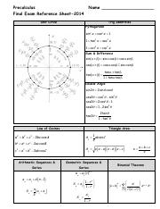 2nd Semester Exam Formula Sheet_2014N