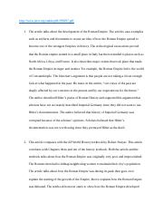 Roman Empire Article Reading Assignment .docx