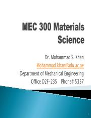 MEC 300-Materials Science Chapter 1