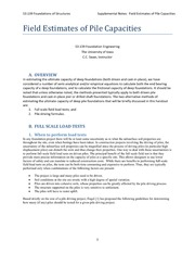 Field Estimates of Pile Capacities Review