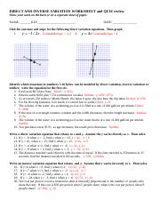 DIRECT AND INVERSE VARIATION WORKSHEET key.doc - DIRECT AND ...