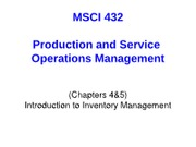 Chapter 4&5 - Intro to Inventory Management