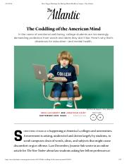 Lukianoff and Haidt Coddling of the American Mind