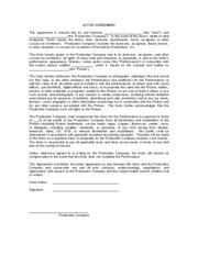 Actor Agreement Form ACTOR AGREEMENT This Agreement Is Entered - Actor contract template