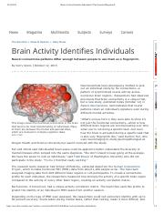 Brain Activity Identifies Individuals  The Scientist Magazine®