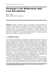 Strategic Cost Reduction and Revelation