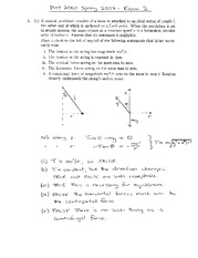Exam 2 Solution Spring 2007 on Physics 1 Honors with Mechanics