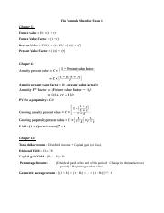 Fin Formula Sheet for Exam 1