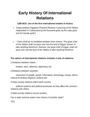 Early History Of International Relations Notes