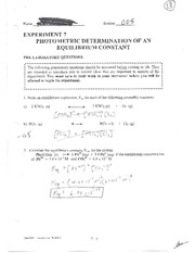 Lab 7 Photometric Determination of an Equilibrium Constant