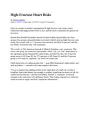 High Fructose Corn Syrup and Cardiovascular Risk