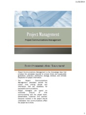 Lecture 9 Project Communications Management for Project Management for Chemical Engineering