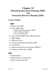 Chapter12 - ERP & MRP Operations Management