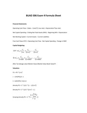 BUAD 306 Exam 4 Formula Sheet 2014