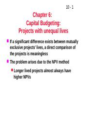 lecture capital budeting - projects of unequal lives.pptx