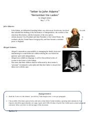 English 3 Abigail and John Adams Assignment.docx