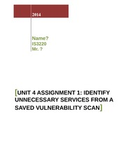 Unit 4 Assignment 1_Identify Unnecessary Services from a Saved Vulnerability