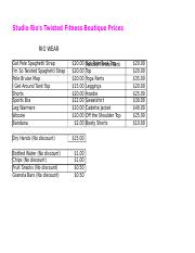Boutique Price Sheet 2014