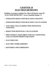 Chem 162-2010 Chapter 18-Electrochemistry practice