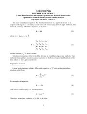 Small Perturbation Aircraft Equations 2016
